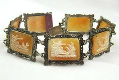 Cameo Bracelet Sterling Silver Art Deco Bracelet by OurBoudoir