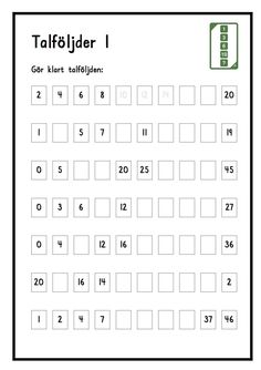 Talföljder 1 och 2 Math Patterns, Math School, Teacher Education, Math Numbers, Math For Kids, Teaching Materials, Coloring For Kids, Algebra, Math Lessons