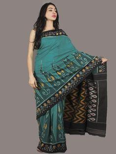 Green Black Yellow Red Ikat Handwoven Pochampally Cotton Saree - S031701062