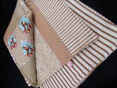 Babydecken - Baby Patchworkdecke Beige Reh 81x87 cm BW Nicki - ein Designerstück von BavarianSchneiderlein bei DaWanda