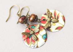 Antique Brass Bumble Bee Earrings with by MusingTreeStudios Recycled Jewelry, Handmade Jewelry, Unique Jewelry, Handmade Gifts, Etsy Jewelry, Jewellery, Bohemian Jewelry, Leather Jewelry, Antique Brass
