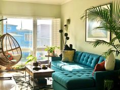 Teal Sofa, Indian Home Decor, California Style, Mid Century House, New Homes, Interior Design, Interiors, Furniture, Nest Design