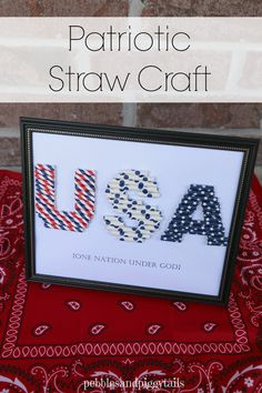 Patriotic Straw Craft using those cute paper straws. Reminds me of the crayon monogram craft