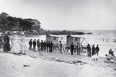 Coogee Beach. Mixed-sex bathing was not allowed on New South Wales beaches until about 1910. Before then women were forced to negotiate portable bathing machines simply to enjoy a swim.