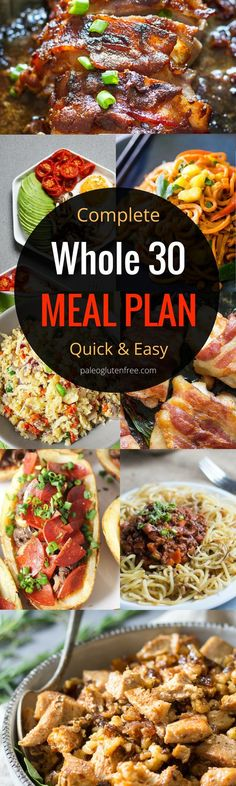 The best and easiest Whole 30 meal plan to jumpstart your body! Loose weight, build energy, and feel AMAZING!!! Healthy Whole 30 meal prep with this complete menu and diet guide. Whole30 meal planning. Easy Gluten Free and paleo recipes to get you feeling