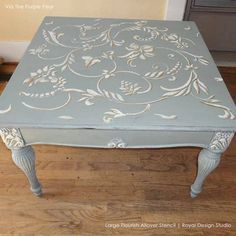 Flourish Allover Wall Stencil - Large Flourish Allover Stencil by Royal Design Studio - Stenciled Table, Stenciled Floor, Furniture Makeover, Diy Furniture, Furniture Stores, Antique Furniture, Decopage Furniture, Furniture Layout, Rustic Furniture