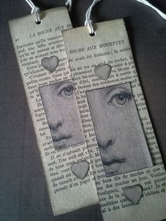 Scrap / Marque-pages encore - Le coeur de Margot Vintage Bookmarks, My Bookmarks, How To Make Bookmarks, Diy Projects With Books, Bookmark Craft, Book Markers, Origami, Pocket Letters, Book Making