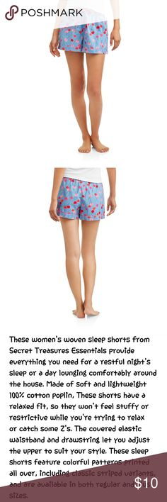 🆕 Secret Treasures Cherry Pajama Shorts These women's woven sleep shorts from secret treasures essentials provide everything you need for a restful night's sleep or a day lounging comfortably around the house. Made of soft and lightweight 100% cotton poplin, these shorts have a relaxed fit, so they won't feel stuffy or restrictive while you're trying to relax and catch some z's. The covered elastic waistband and drawstring let you adjust the upper to suit your style. Secret Treasures…