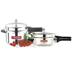 Premier Aluminium Pressure Cooker Eco Pack 5.5 Liters   Pressure Pan Small (1 Lid Serves for both Cooker and Pressure Pan) * New and awesome product awaits you, Read it now  : Pressure Cookers