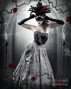 Masked Gothic Woman art/fantasy woman art/Masquerade artwork/Dark fantasy art/woman in mask/Gothic wall art/Gothic decor/woman in ball gown Fantasy Art Women, Dark Fantasy Art, Dragons, Wolf, Masks Art, Gothic Art, Gothic Beauty, Masquerade Ball, Portrait
