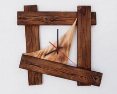 Items similar to Clock Wall Hanging Reclaimed Wood Modern Decor Contemporary on Etsy Handmade Wall Clocks, Unique Clocks, Traditional Clocks, Displays, Wall Clock Design, Diy Clock, Wood Clocks, Wood Creations, Wooden Decor