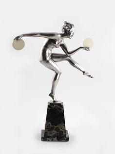 Art Deco silvered bronze figure of a dancer, cast from a model by Alexandre-Joseph Derenne