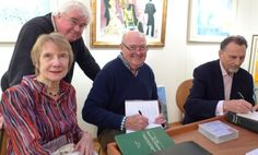 """""""Dr. Cynthia Gamble, writer and lecturer on Proust and Ruskin  ;  Dr. Alan Halliday, artist  ; Professor William C. Carter, biographer of Proust  ;  Neville Jason, actor and audio reader of the unabridged 'Remembrance of Things Past', (Naxos).  ; 'Les Invités des Amis de Marcel Proust' at the Mayfair Gallery, December 2013. England."""""""