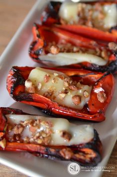 Cheese Stuffed Roasted Red Pepper Slices | Party Appetizers & Cheese Pairings