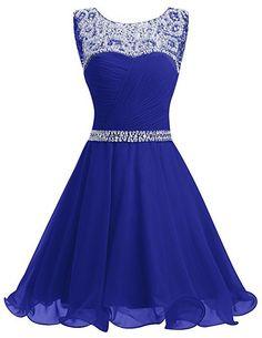 Dresstells® Short Chiffon Open Back Prom Dress With Beading Homecoming Dress RoyalBlue Size 6: