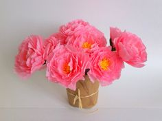 3 delicate pink paper peony by adornflowers on Etsy, $15.00