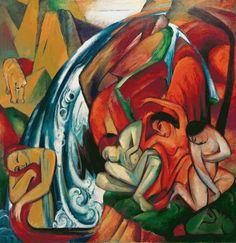 Franz Marc - The waterfall (Women under a waterfall)