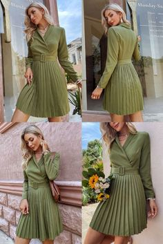 Skater Dresses V-Neck Long Sleeves Pleated Layered Casual Flared Dress. @Official_TDMercado ✔ Free Worldwide shipping ✔ Easy Returns #fashion #style #dress #casual #fashionstyle #westernwear
