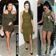 #KourtneyKardashain Loves #Olive Dresses#gorgeous #olivedress #highheels #mother #socialite  #fashion #style #celebrity #printed #hollywood #beautiful #accessories #offshoulder #gown #dress #hautecouture2016 #green #nudedress #pretty #stylish #ootd #outfit #heels... - Celebrity Fashion
