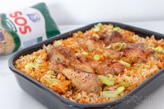 Lenivé pečené kuracie stehná s ryžou (z jednej formy) Fried Rice, Tofu, Fries, Fitness, Ethnic Recipes, Nasi Goreng, Stir Fry Rice