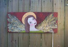 Fall Autumn Folk Art Angel Painting Original FREE by Debidoodah, $125.00