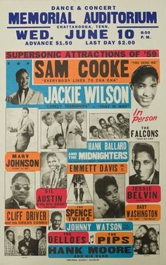 """Sam Cooke & Jackie Wilson - Memorial Auditorium, Chattanooga"" Art Print Taken From A Vintage Concert Poster from Andromeda Print Emporium Rock Posters, Band Posters, History Posters, Poster Art, Poster Design, Flyer Design, Graphic Design, Vintage Concert Posters, Vintage Posters"