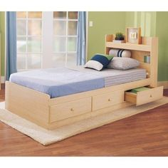 Bundle 32 My E Place Storage Twin Bed In Maple 4 Pieces