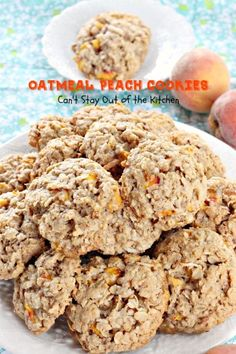 Oatmeal Peach Cookies | Can't Stay Out of the Kitchen | amazing #oatmeal #cookies with #peaches #coconut and #pecans. #oatmealcookie #dessert