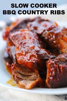 Slow Cooker BBQ Country Style Ribs Smoker Cooking a cooking smoke Slow Cooker Ribs Recipe, Slow Cooker Bbq Ribs, Slow Cooker Huhn, Bbq Pork Ribs, Slow Cook Pork Ribs, Crockpot Country Style Ribs, Country Ribs Recipe, Country Style Pork Ribs, Crock Pot Country Ribs