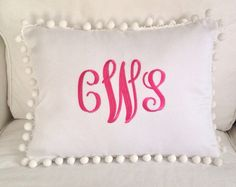 Monogrammed Pique Pom Pom Pillow by peppermintbee on Etsy, $52.00