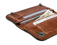 RETROMODERN aged leather iPhone wallet   LIGHT BROWN by portel, $149.00