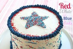 Red, White and Blue 4th of july cake @createdbydiane