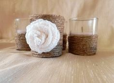 Jute Candle SET OF 3 Wedding Table Decoration Rustic Wedding Home Decor. $10.50, via Etsy.