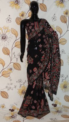Chikankari Black Georgette Saree - Cotton thread Chikan with all-over heavy work