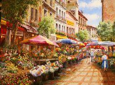 Paris Flower Market by Sam Park, Original Painting, Oil on Canvas