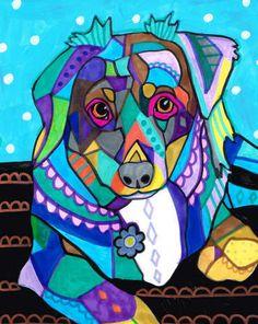 11x14 Mini Australian Shepherd Art  Dog Poster by HeatherGallerArt, $24.00