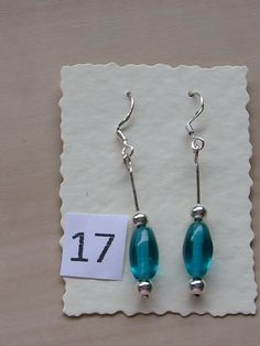 Sterling Silver earrings with turquoise glass beads and tiny silver beads