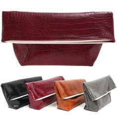 Faux Leather Clutch Handbags Crocodile Evening Purses Women 6dd4d4af0b2b3