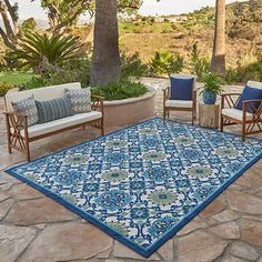 Indoor Outdoor Area Rugs, Outdoor Areas, Outdoor Living, Outdoor Decor, Outdoor Flooring, Flooring Ideas, Patio Rugs, Blue Dream, Paros