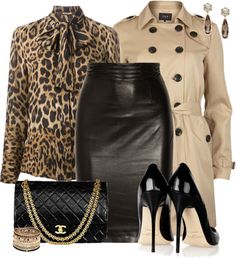 Classy leopard blouse with leather skirt and trench coat outfit