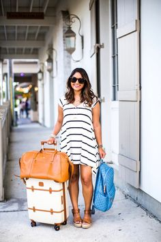 """cute travel luggage, striped dress, bric's 21"""" spinner, haute off the rack, MZ Wallace Metro Backpack, leather duffle, travel outfit, travel style, fashion blogger, women's fashion, travel bags, summer outfit, @modcloth"""