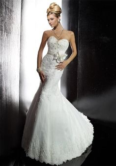 Christina Wu/15451/Gown features beading. Tulle, Lace, Mermaid silhouette, strapless, sweetheart  neckline, semi-cathedral train.