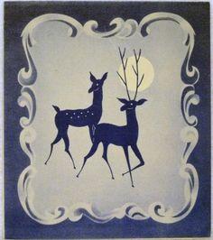 #1421 40s Art Deco Deer-Vintage Christmas Greeting Card
