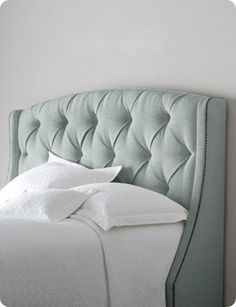 Bernhardt Rami Wing Tufted Headboard - Horchow - for some reason I've always wanted a fabric headboard Tufted Headboards, Upholstered Furniture, Bedroom Furniture, Nailhead Headboard, Fabric Headboards, Handmade Headboards, Tufted Bed, Metal Headboards, King Furniture