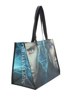 7a6109748cd6  6.00 on HotTopics. Long shopper tote with Winchester brothers design.  Reinforced bottom. Supernatural