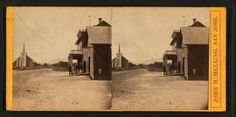 [View of a road, church and three men standing on in front of a building, California.]