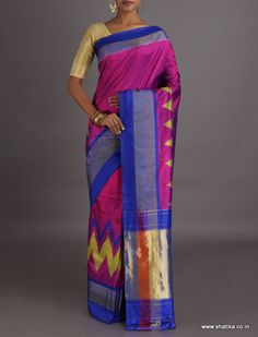 Sanavi Plain With Zig Zag Border Ikat #PochampallySilkSaree