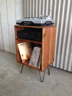 FRONTIER Handmade Reclaimed Wood Record Stand by appendageandbough Stereo Cabinet, Record Cabinet, Handmade Furniture, Diy Furniture, Furniture Design, Furniture Stores, Kitchen Furniture, Vinyl Record Storage, Lp Storage