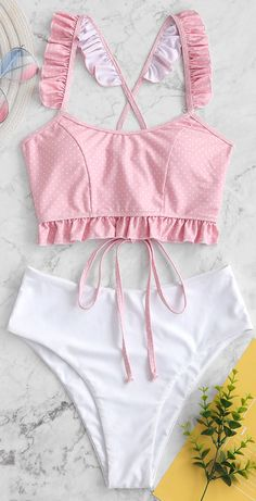Style: Fashion Swimwear Type: Tankini Gender: For Women Material: Nylon,Polyester,Spandex Bra Style: Padded Support Type: Wire Free Collar-line: Straps Pattern Type: Polka Dot Decoration: Lace up,Ruffles Waist: High Waisted Season: Summer Swimsuits For Teens, Tankini Swimsuits For Women, Swimsuits For Curves, Cute Swimsuits, Boho Swim Suits, Cute Bathing Suits, Flattering Swimsuits, Vintage Swimsuits, Swimwear Fashion