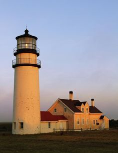 ✮ Highland Light, also known as Cape Cod Light, lighthouse and attached light keepers house, Truro, Massachusetts